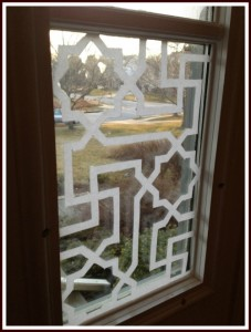 My Front Door Side Windows Etched With Islamic Pattern