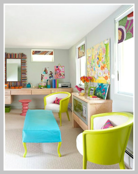 Color psychology decorating with pink - Red and green interior design ...