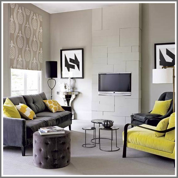 Decorating With Color Unique With Yellow and Gray Living Room Photo