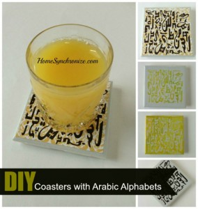 DIY Tile Coasters With Arabic Alphabets